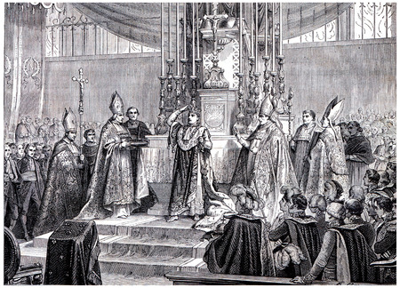 Napoleon raises the iron crown on his head, vintage engraved illustration. History of France – 1885.