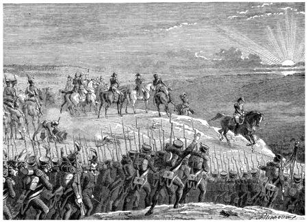 austerlitz: Battle of Austerlitz, vintage engraved illustration. History of France – 1885. Stock Photo