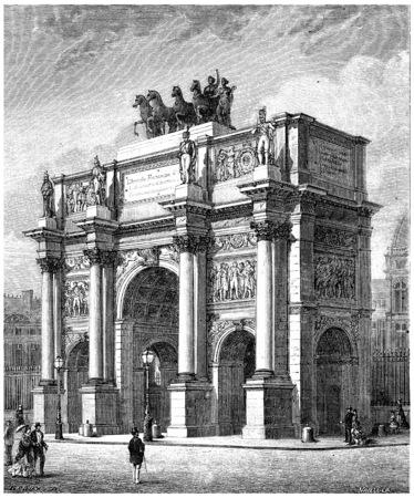 Arc de Triomphe du Carrousel, vintage engraved illustration. History of France – 1885. Stock Photo