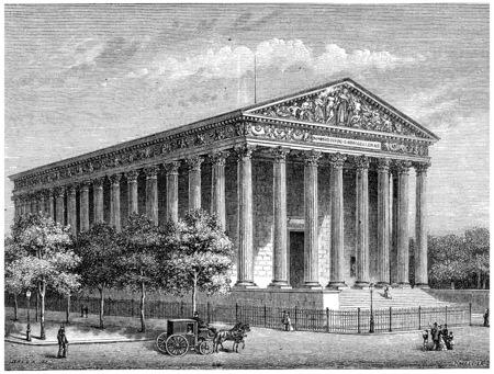 """영광의 사원 (마들렌 교회), 빈티지 새겨진 그림. 프랑스 â € """"1885의 역사."""