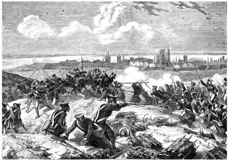 Siege of Danzig, vintage engraved illustration. History of France – 1885.