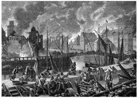 bombardment: Bombardment of Copenhagen, vintage engraved illustration. History of France – 1885.