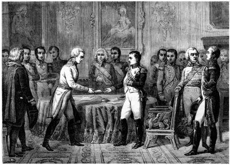 treaty: Congress of Erfurt, vintage engraved illustration. History of France – 1885.