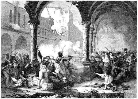 Siege of Saragossa, vintage engraved illustration. History of France – 1885.