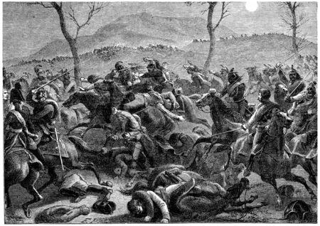 Battle of Eckmuhl, vintage engraved illustration. History of France – 1885.