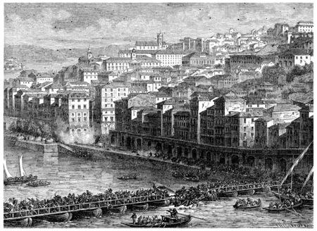 Inname van Oporto, vintage gegraveerde illustratie. Geschiedenis van Frankrijk - 1885.