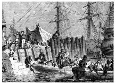 evacuation: Lavado de evacuaci�n por los brit�nicos, de abordar los pacientes, cosecha ilustraci�n grabada. Historia de Francia - 1885.