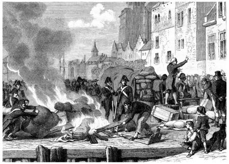 burned: English goods sold or burned, vintage engraved illustration. History of France – 1885. Stock Photo