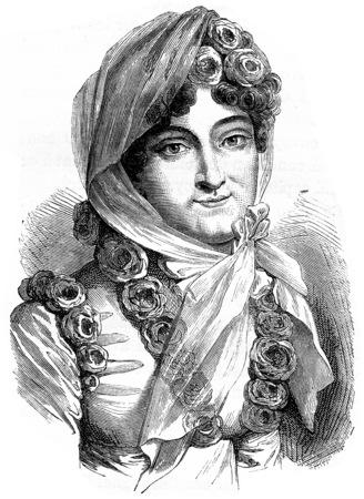 damas antiguas: Marie Louise, ilustración de la vendimia grabado. Historia de Francia - 1885.
