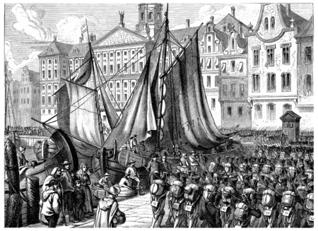 troops: Entry of French troops in Amsterdam, vintage engraved illustration. History of France – 1885.