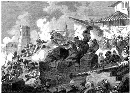 heroic: Heroic defense of Girona, vintage engraved illustration. History of France – 1885. Stock Photo