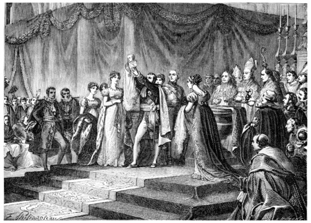 chapel: Baptism of the King of Rome, vintage engraved illustration. History of France – 1885. Stock Photo