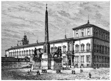 spire: The Quirinal and the fountain of Monte Cavallo, vintage engraved illustration. History of France – 1885.
