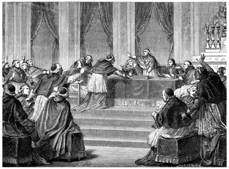 council: The Council, meeting on 10 July. vintage engraved illustration. History of France – 1885.