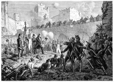 Resolution of the garrison of Badajoz die with weapons in hand, vintage engraved illustration. History of France – 1885.