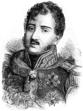 Poniatowski, vintage engraved illustration. History of France – 1885. Stock Illustration - 39824506