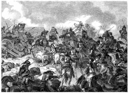 Battle of Borodino, vintage engraved illustration. History of France – 1885.
