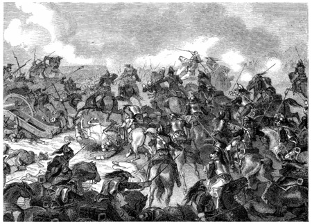 troop: Battle of Borodino, vintage engraved illustration. History of France – 1885.