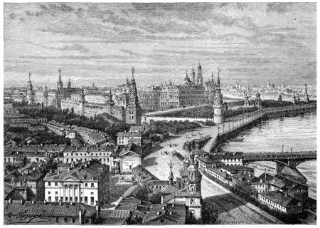"""크렘린, 빈티지 새겨진 그림입니다. 프랑스 â € """"1885의 역사."""