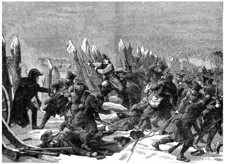End of the Russian campaign. Recent efforts of Marshal Ney, vintage engraved illustration. History of France – 1885.