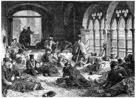 debris: Debris from the Grandee Armee in Koenigsberg, vintage engraved illustration. History of France – 1885.