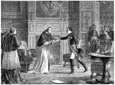 pius: Napoleon visiting Pius VII at Fontainebleau, vintage engraved illustration. History of France – 1885. Stock Photo