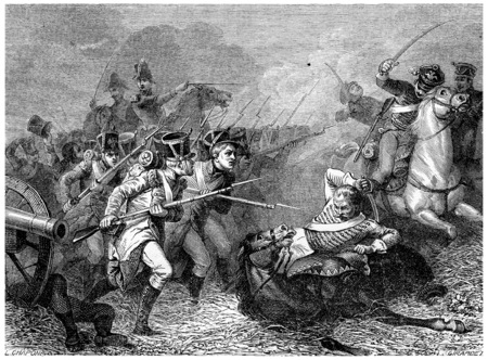 conscripts: Conscripts of 1813 Combat Weissenfels, vintage engraved illustration. History of France – 1885. Stock Photo