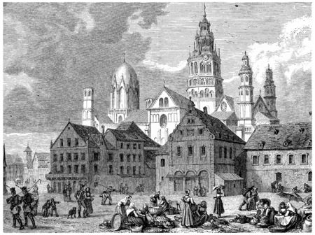 View of Mainz, vintage engraved illustration. Earth before man – 1886. Фото со стока