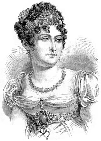 black maria: Caroline Bonaparte, vintage engraved illustration. History of France – 1885.
