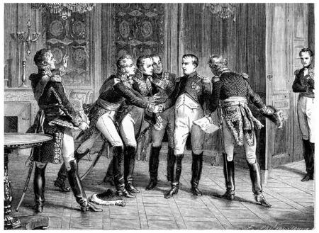 Abdicazione di Napoleone, vintage illustrazione inciso. Storia della Francia - 1885. Archivio Fotografico - 39823838