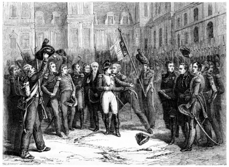 napoleon bonaparte: Farewell at Fontainebleau, vintage engraved illustration. History of France – 1885. Stock Photo