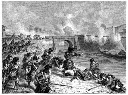 toulouse: Battle of Toulouse, vintage engraved illustration. History of France – 1885. Stock Photo