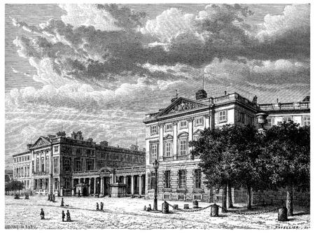 chateau: Castle compiègne, vintage engraved illustration. History of France – 1885.
