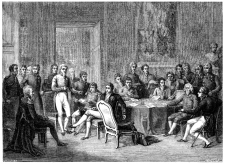 congress: Congress of Vienna, vintage engraved illustration. History of France – 1885. Stock Photo
