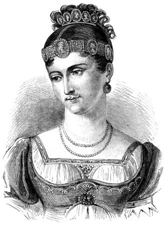 bonaparte: Pauline Bonaparte, vintage engraved illustration. History of France – 1885.