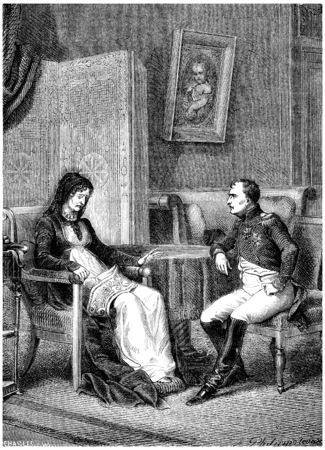 napoleon bonaparte: Napoleon looking at his mother before leaving the island of Elba, vintage engraved illustration. History of France – 1885. Stock Photo