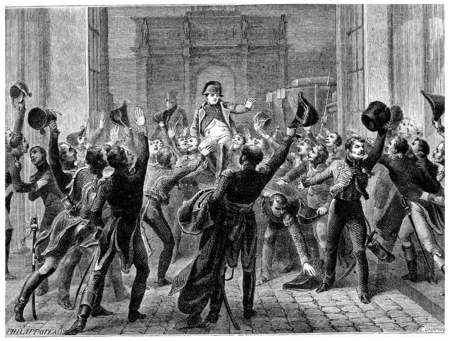 Napoleon returned to the Tuileries, March 20, 1815, vintage engraved illustration. History of France – 1885.