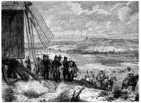 Battle of Ligny, Napoleon gave his orders to attack, vintage engraved illustration. History of France – 1885.