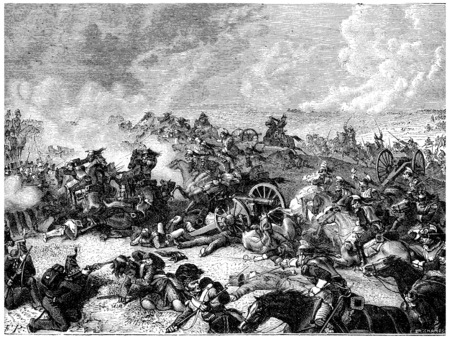 Battle of Waterloo Ney charge the land of cuirassiers, vintage engraved illustration. History of France – 1885.