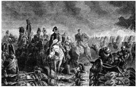 caballos negros: La tarde de Waterloo, vintage grabado ilustración. Historia de Francia - 1885.