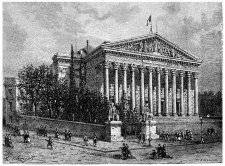 legislative: The Legislative Body (Palais Bourbon), vintage engraved illustration. History of France – 1885.