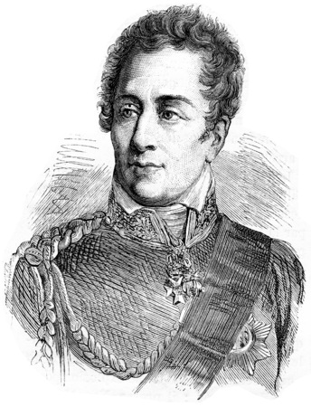 statesman: Wellington, vintage engraved illustration. History of France – 1885.