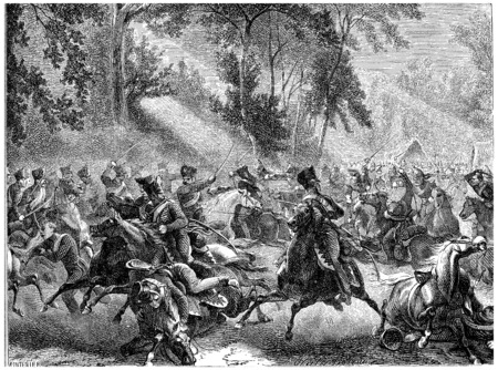 Fight Rocquencourt, vintage engraved illustration. History of France – 1885. Фото со стока