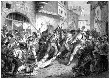 marshal: The corpse of Marshal Brune troll Rhone, vintage engraved illustration. History of France – 1885.