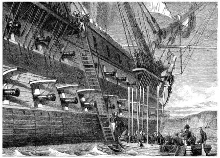surrendering: Napoleon surrendering to board the Bellerophon, vintage engraved illustration. History of France – 1885.