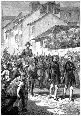troop: The brothers Faucher up to death, vintage engraved illustration. History of France – 1885.