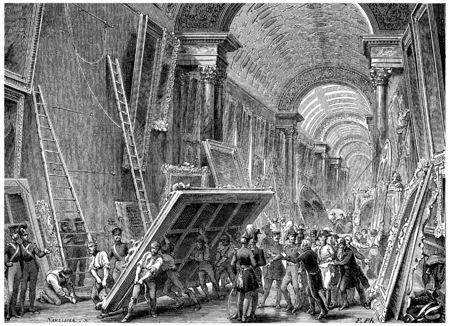 devastation: Devastation of the Louvre Museum, vintage engraved illustration. History of France – 1885. Stock Photo