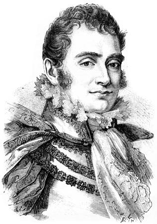 duke: The Duke of Berry, vintage engraved illustration. History of France – 1885.