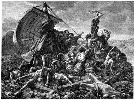 shipwreck: The shipwreck of the Medusa, vintage engraved illustration. History of France – 1885.
