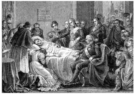 demise: Death of the Duke of Berry, vintage engraved illustration. History of France – 1885.